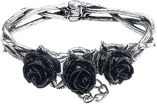 Alchemy Gothic Wild Black Rose Pewter Bracelet: S/M