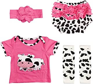 "Reborn Baby Doll Outfits Accessories 4 Piece Set for 20""- 22"" Newborn Girl Rose Red with Cow Patterns"