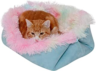 Furhaven Pet Bed for Cats and Small Dogs - Long Fur and Suede Convertible Self-Warming Thermal Cuddler Cat Bed, Washable, ...