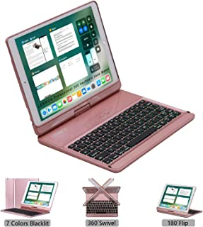 LENRICH 2019 iPad Air 3rd 10.5 ipad pro case Keyboard Backlit, 7 Colors Backlight 360 rotatable 180 Flip Wireless Folio Swivel Hard Shell Cover Stand Auto Sleep/Wake up Rose Gold