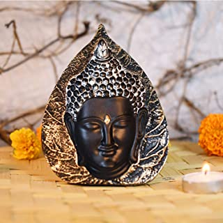 CraftVatika 3D Look Buddha Face Sculpture in Leaf Shape Statue Idols for Home Office Decorative Showpiece (Size 5.5 X 4.5 ...