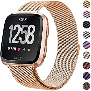 "Milanese Metal Bands Compatible for Fitbit Versa Bands/Versa Lite Edition Bands for Women Men, Replacement Stainless Steel Wristband Accessories Strap (S(5.1""-7.9""), Rose-Gold)"
