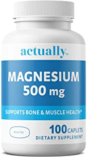 Actually Magnesium 500mg Caplets, 100ct - Support Bone and Muscle Health for Adults – 100-Day Supply