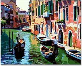 Rihe Paint by Numbers Kits Diy Oil Painting for Adults Kids Beginner - Venice 16 x 20 inch with Brushes and Acrylic Pigment (Without Frame)