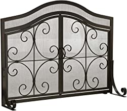 Plow & Hearth Small Steel Crest Fireplace Screen with Doors and Wrought Iron Scrollwork