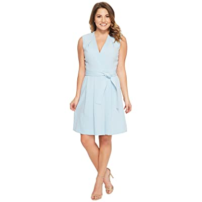 Tahari by ASL Petite Faux Wrap Dress (Sky Blue) Women