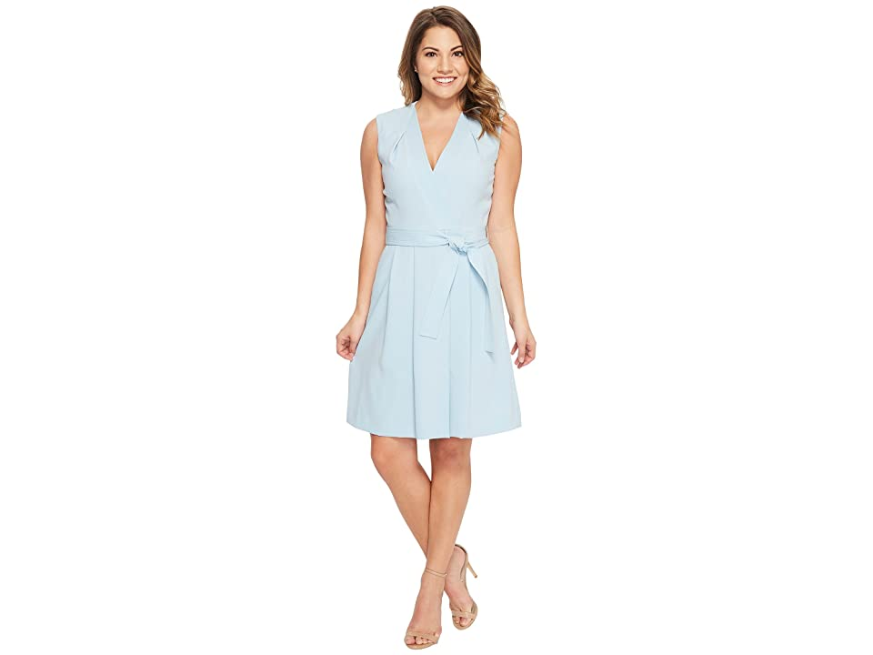 Tahari by ASL Petite Faux Wrap Dress (Sky Blue) Women