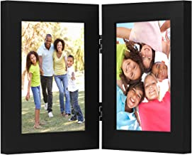 Americanflat 4x6 Inch Hinged Picture Frame with Glass Front - Made to Display Two 4x6 Inch Pictures, Stands Vertically on Desktop or Table Top