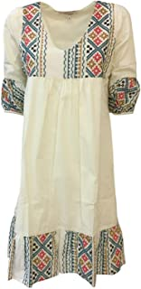 LA FEE MARABOUTEE Abito Donna Ricami Ecru MOD FB7463 100% Cotone Made in Italy