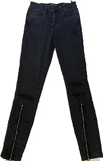 1808f08a3885 Guess Jeans Nero Modello Skinny High con Cerniera alla Caviglia E Strappi