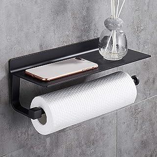 Hoomtaook Supports pour Papier Essuie-tout Distributeurs Dérouleur Essuie Tout 33cm, Aluminium, Porte-papier de Cuisine Noir