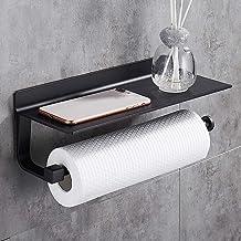 Hoomtaook keukenrolhouder zwart rolhouder wandrolhouder voor keukenpapier zonder boren, aluminium, matte afwerking, papier...