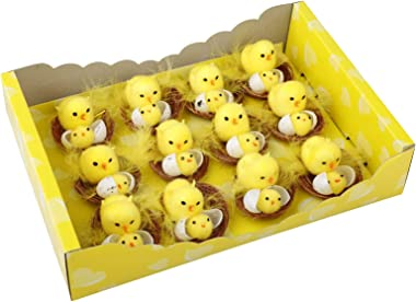 12Pc Cute Chick Home Decoration Gift Box, Darkduke Easter Toy Plush, Mini Easter Chicks, Easter Chicks Baby Chicks for Easter
