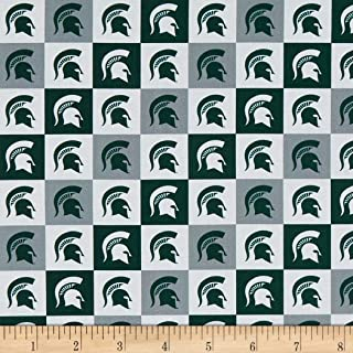 Sykel Enterprises NCAA Cotton Broadcloth Michigan State Collegiate Check Fabric, Team Color, Fabric By The Yard