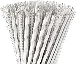ALINK Biodegradable Silver Paper Straws Bulk, Pack of 100 Metallic Foil Striped/Wave/Dots Straws for Birthday, Wedding, Br...