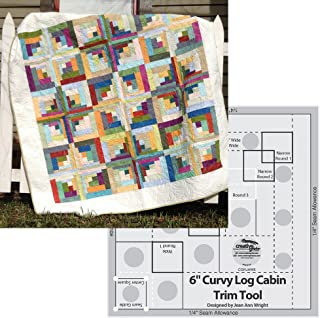 Bundle of Creative Grids Curvy Log Cabin Trim Tool 6in Finished Blocks and Cut Loose Press Carousel Curvy Log Cabin Quilt Pattern