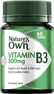 Nature's Own Vitamin B3 500mg - Assists in Metabolism - Supports Healthy Skin - Good for Pregnancy and Lactation, 60 Tablets