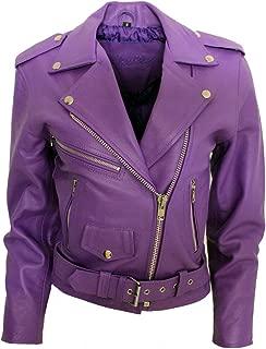 Ladies Purple Cowhide Leather Motorbike Brando Biker Fitted Short Belted Jacket