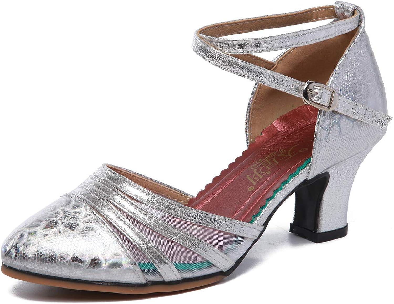 Women's mesh Social high Heels Dance Shoes Latin Salsa Performance Ballroom Dance Shoes