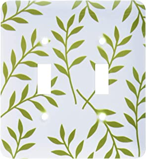 2 Gang Wall Plate Cover Decorator Wall Switch Light Plate Double Toggle Switch Olive Green & White Chic Leaves Classic Bea...