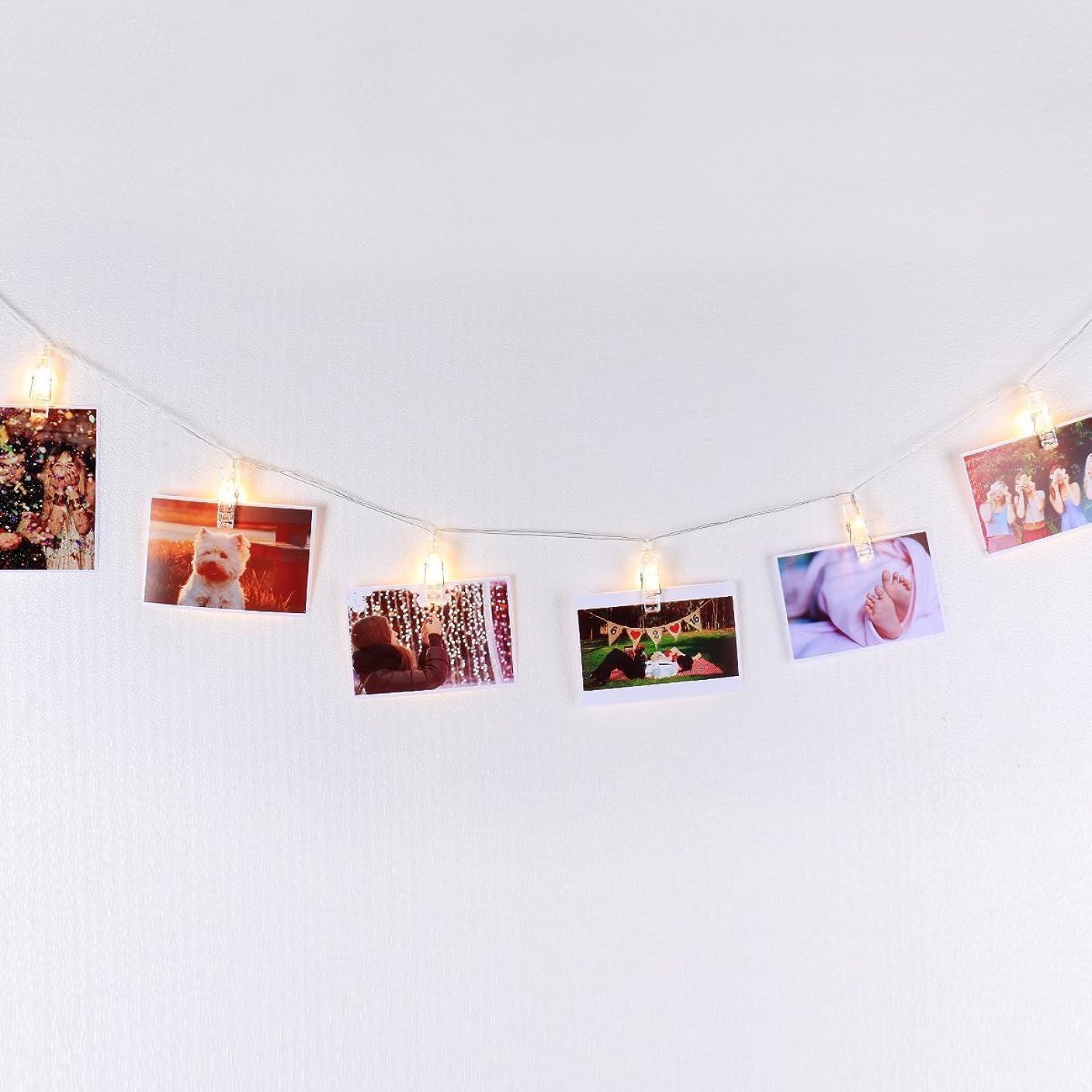 人里離れたガレージしないLED 写真ディスプレイ用 ストリングライト 自動ON/OFFタイマー付き 温白色 4.5m/15フィート 電池駆動式、絵 写真 カード メモ 吊り下げ飾り用、フォトガーランド 壁飾り 必需品
