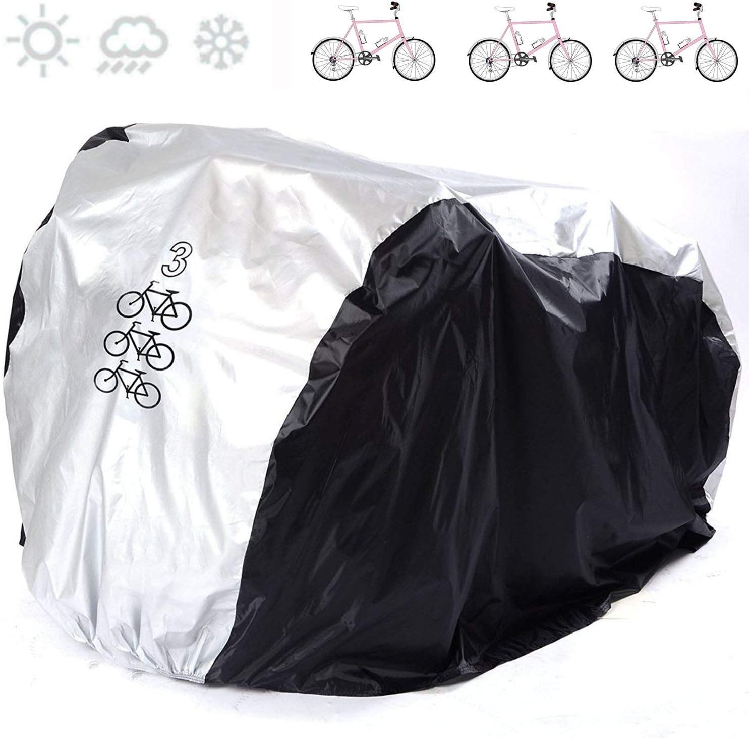 Anftop Fahrradabdeckung Für 3 Fahrräder Wasserdicht Fahrradschutzhülle Wasserfest Fahrrad Schutzhülle Fahrradschutz Indoor Outdoor Abdeckung Fahrradabdeckungen Nylon Cover 200x105x110cm Hülle Sport Freizeit