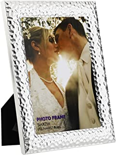 RPJC 5x7 Picture Frames Made of Metal (Steel) and High Definition Glass for Table Top Display and Wall Mounting Photo Frame Silvery