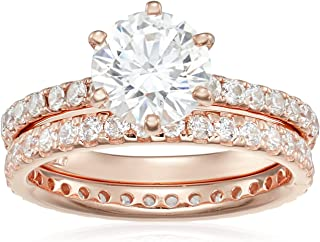 Platinum or Gold Plated Sterling Silver Round Ring Set...