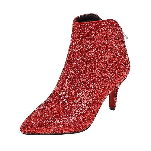 174c70c79d703 Coolulu Womens Stiletto Kitten Heel Glitter Ankle Boots High Heel Booties  with Zip Pointed Toe Elegant