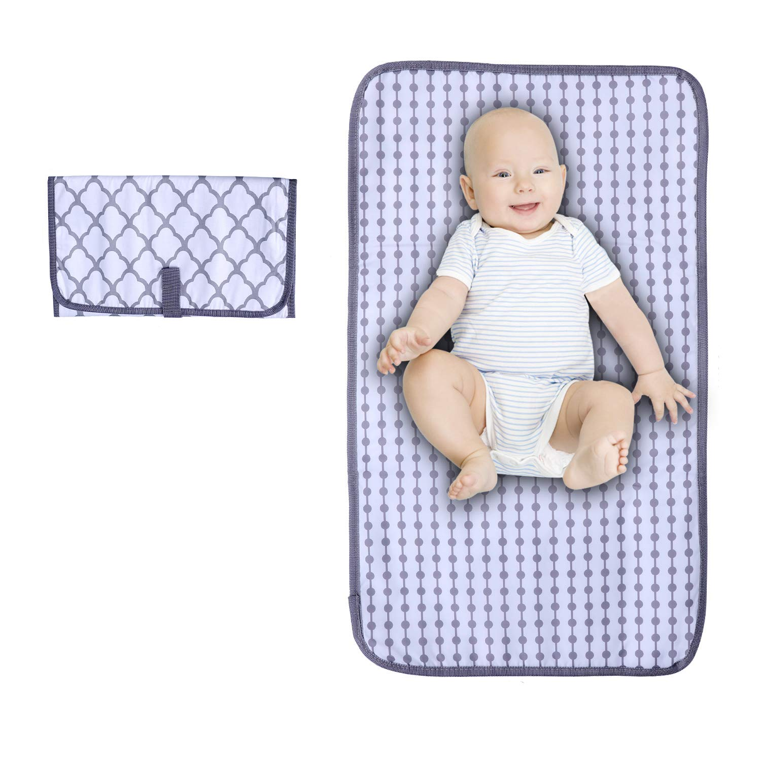 Portable Diaper Changing Pad, LEASEN Portable Changing pad for Newborn Boy & Girl, Waterproof Travel Portable Changing Table with Smart Wipes Pocket (Gray Rhombus)…