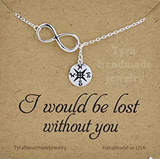 Silver Gold infinity Compass lariat necklace,Graduation Gifts,friendship necklace,best friend necklace,bridesmaid gift,custom message card