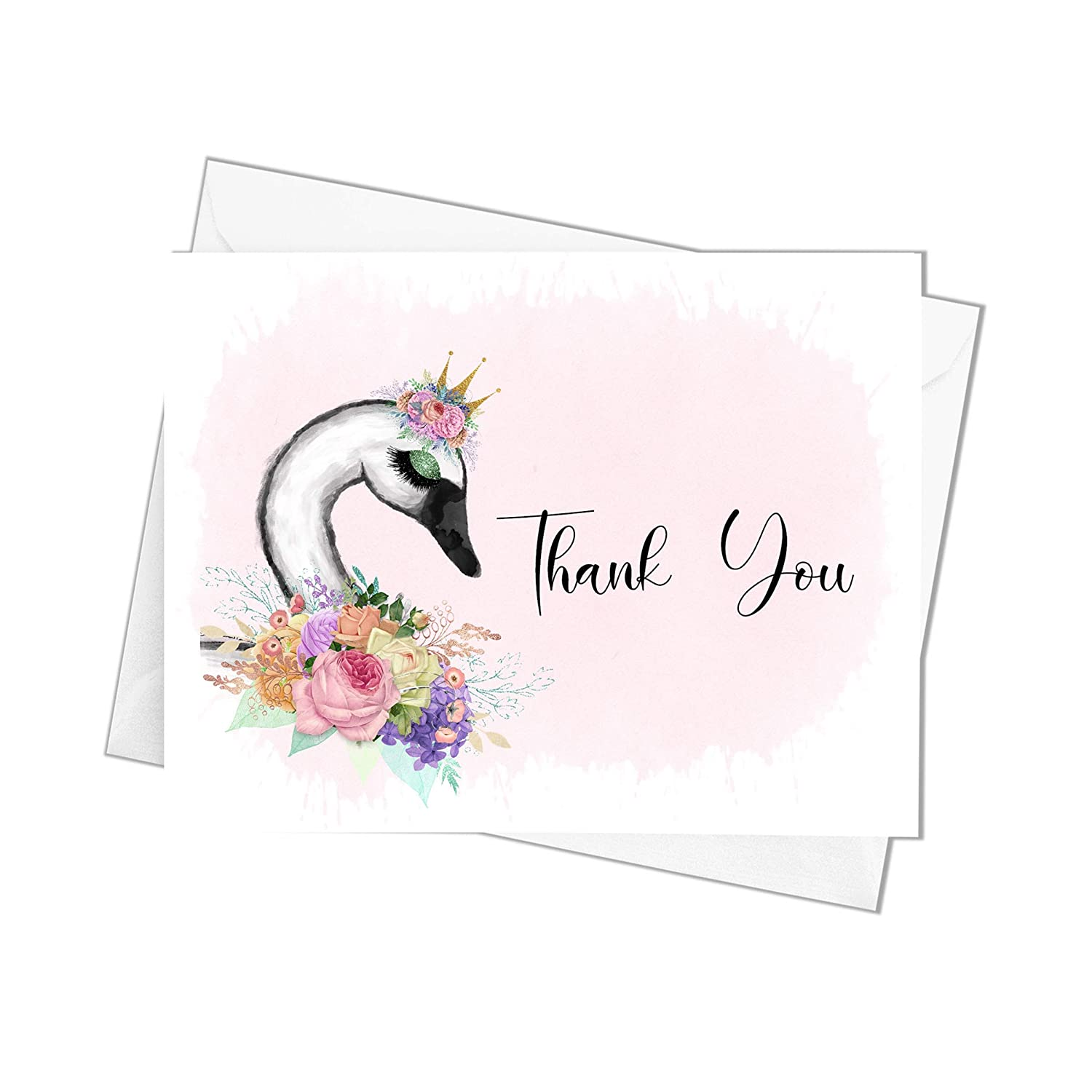 Swan Themed Thank You Cards Shower All stores are sold Special price for a limited time with Envelopes Baby Yo