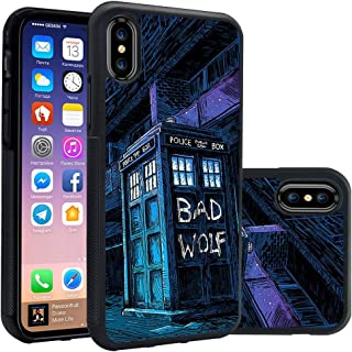 iPhone Xs Case,Doctor Who Tardis Police Box Fashion Silicone Soft TPU Christ iPhone Xs Case (2018) / Designed for iPhone X Case (2017) -Bad Wolf