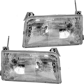 Headlights Headlamps Driver and Passenger Replacements for Ford F150 F250 F350 Pickup Truck Bronco SUV F2TZ13008B F2TZ13008A