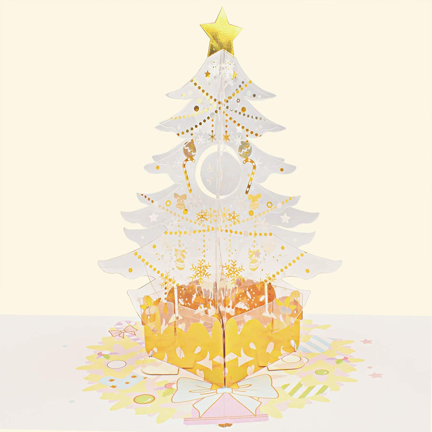 CTZD Transparent Christmas tree Pop Up Sale special price 3D Gr Popup Handmade Max 46% OFF Card