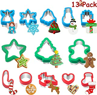 Homemaxs Cookie Cutter Set, 13pcs Christmas Cookie Cutter Metal with Removable Plastic Shell for DIY Baking Including Recipe Booklet, Snowflake,Gingerbread Boy, Christmas Tree etc.