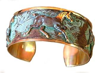 Elaine Coyne Verdigris Patina Contemporary Running Horse Cuff Bracelet