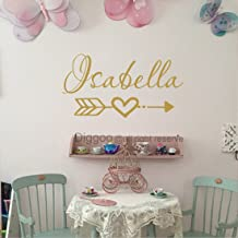 Personalized Name Wall Decal Arrow Heart Love Wall Decal Baby Room Girls Nursery Wall Sticker (11.5