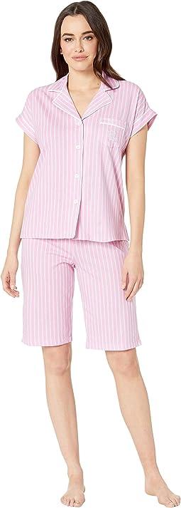Notch Collar Bermuda Shorts Pajama Set