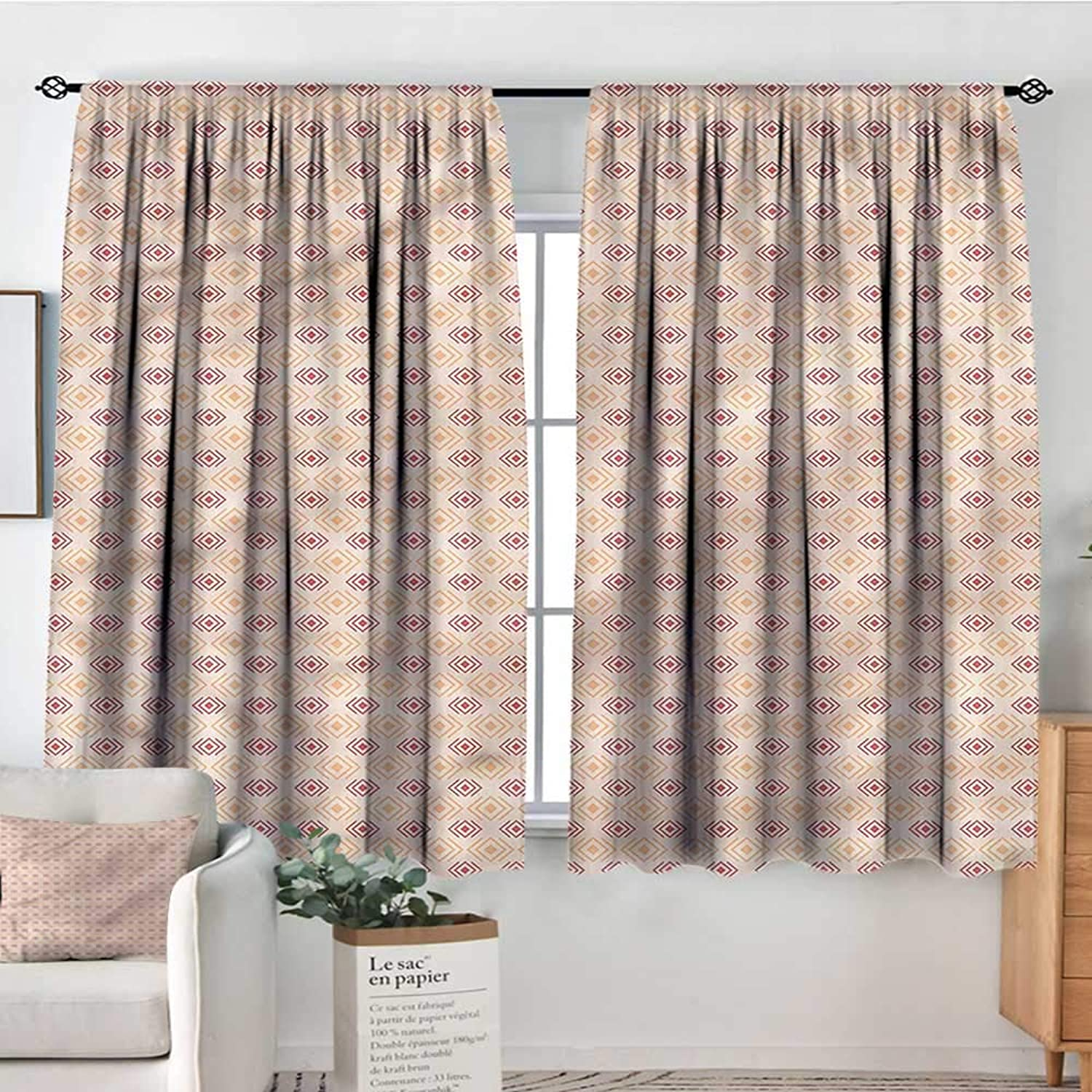 Geometric,Boy's Iving Room Curtain Checked Diagonal Tile 42 X63  Indo Treatments for Short Indo