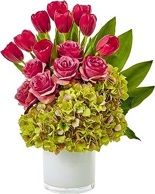 Artificial Flowers -Tulip Rose and Hydrangea Arrangement