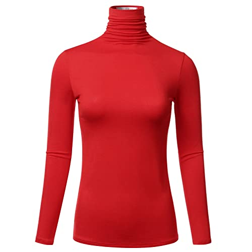 FLORIA Women s Long Sleeve Lightweight Slim Turtleneck Top Pullover ... f7b464b97