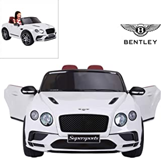 Bentley Continental Supersports Electric Ride On Car with Remote Control for Kids, 12V Power Battery Official Licensed Kids Car, Real Two Seater, Opening Doors, White