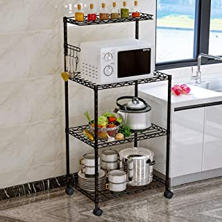 LENTIA 4-Tier Baker's Rack Microwave Stand Kitchen Oven Rack with Wire Mesh Shelves 4-Side Hooks 4 Wheel Casters & Adjustable Leg Plug