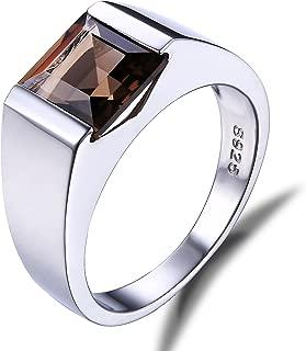 Men's Created Alexandrite Sapphire Created Ruby Nano Simulated Emerald Smoky Quartz 925 Sterling Silver Ring
