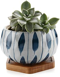T4U Japanese Style 4.25 Inch Ceramic Bowl Shape Succulent Plant Pot with Bamboo Tray - Orchid Pattern