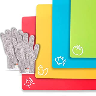 CHEF GRIDS Durable Flexible Plastic Cutting Board Mats with Food Icons Grip Waffle Back, Set of 4, Plus Pair of Safety Gloves [Medium]