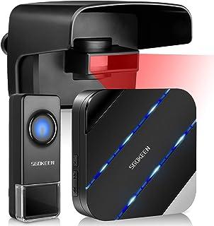SGOKEEN Driveway Alarm, Outdoor Weatherproof Wireless Motion Sensor Detector Doorbell,Security Alert System with 58 Chimes/LED Indicator/5 Level Volumes/Mute Mode,500ft Range,for Home/Garage