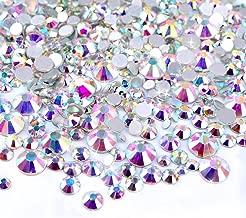 Zealer 2mm - 6mm Resin Crystal AB Round Nail Art Mixed Flat Backs Rhinestones Gems, M1-30, Mix Size, 450 Piece