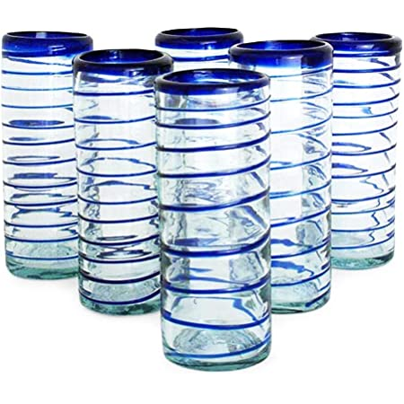 Set of 2 COBALT BLUE SWIRL STEMLESS MOUTH-BLOWN WINE WATER GLASSES   NEW 19 OZ